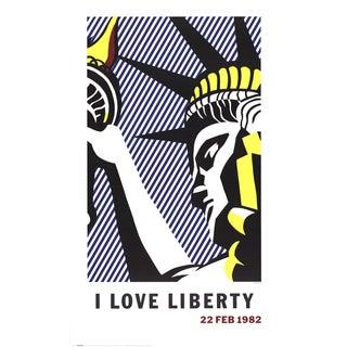 """Roy Lichtenstein """"I Love Liberty"""" Poster 1982"""