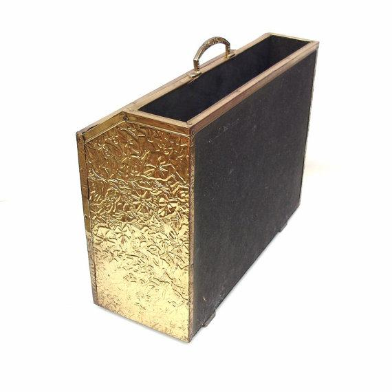 Mid Century Magazine Rack Hammered Brass Storage - Image 5 of 6
