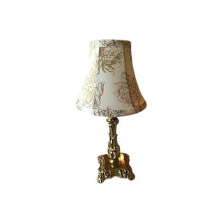 Gustavian Style Solid Brass Lamp With Floral Country Style Shade