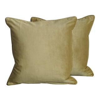 Custom Chartreuse Velvet Pillows - a Pair