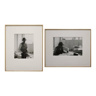 Framed Black and White Self Portraits Photographs by Gottfried Tollman - a Pair