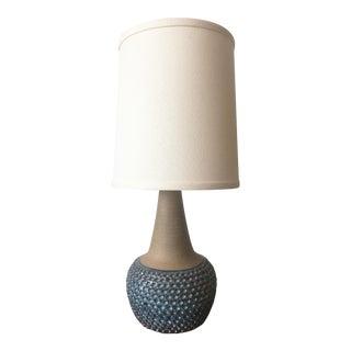 Danish Mid-Century Textured Blue Ceramic Table Lamp