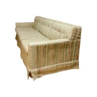 Mid-Century Pastel Stripes Tufted Sofa