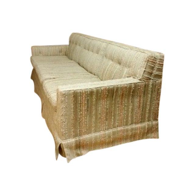 Mid-Century Pastel Stripes Tufted Sofa - Image 1 of 8