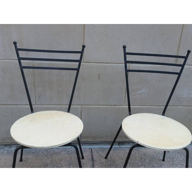 Mid-Century Petite Wrought Iron Cafe Chairs - Pair - Image 3 of 9
