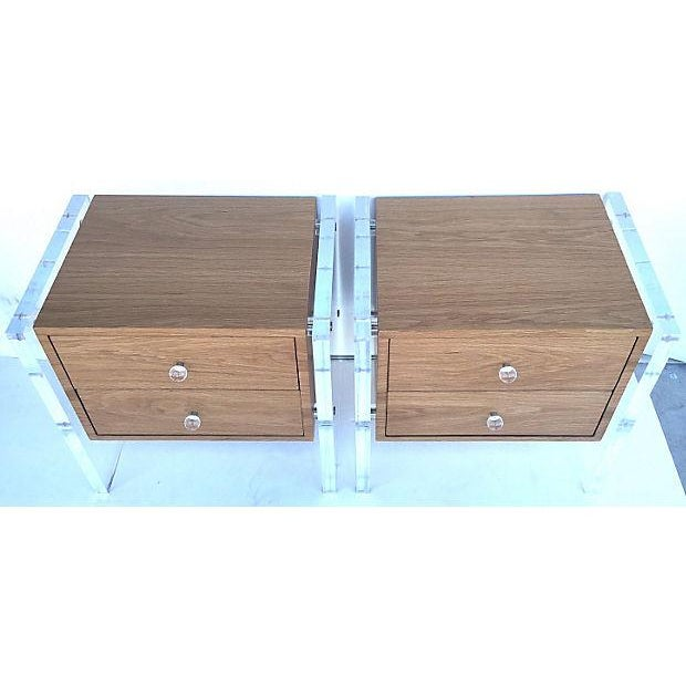 Image of Mid-Century Floating Lucite Nightstands - Pair