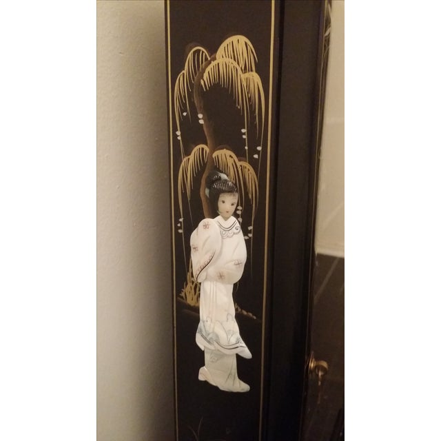 Black Lacquer Chinese Curio Display Cabinet - Image 4 of 6