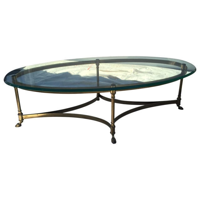 LaBarge Oval Hoofed Brass Coffee Table - Image 1 of 4