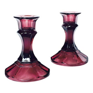 Vintage Amethyst Purple Glass Candlestick Holders - Set of 2