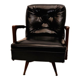 Mid-Century Modern Danish Walnut & Black Vinyl Rocking Lounge Club Chair