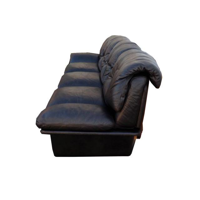 Mid-Century Minimalist Black Leather Italian Sofa - Image 6 of 9