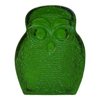 Vintage Emerald Green Blenko Glass Owl Bookend Paperweight