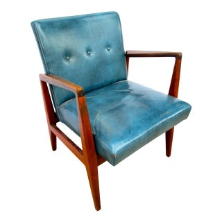 Mid-Century Jens Risom Teal Leather Chair