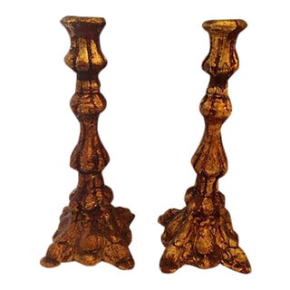 Italian Gold Leaf Candleholders - A Pair