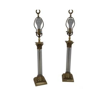 Remington Crystal Brass Corinthian Column Lamps -