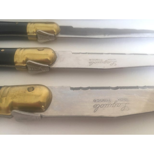 Image of Laguiole French Stainless Steel & Brass Black Steak Knives- Set of 6