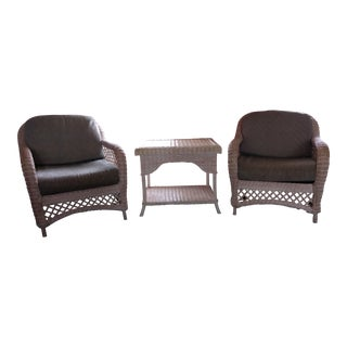 Henry Link Wicker Chairs & Table - Set of 3