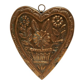 Vintage French Copper Folk Art Design Heart Mold