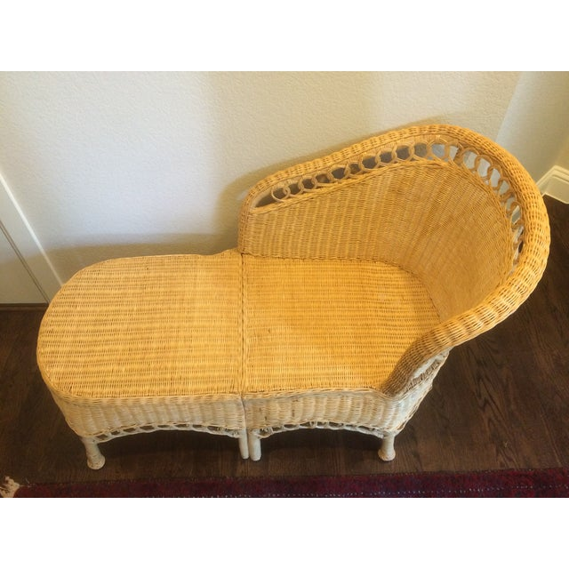 Vintage wicker chaise lounge chairish for Antique chaise lounge prices