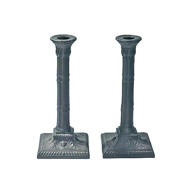 Porcelain Candleholders - A Pair - Image 1 of 2