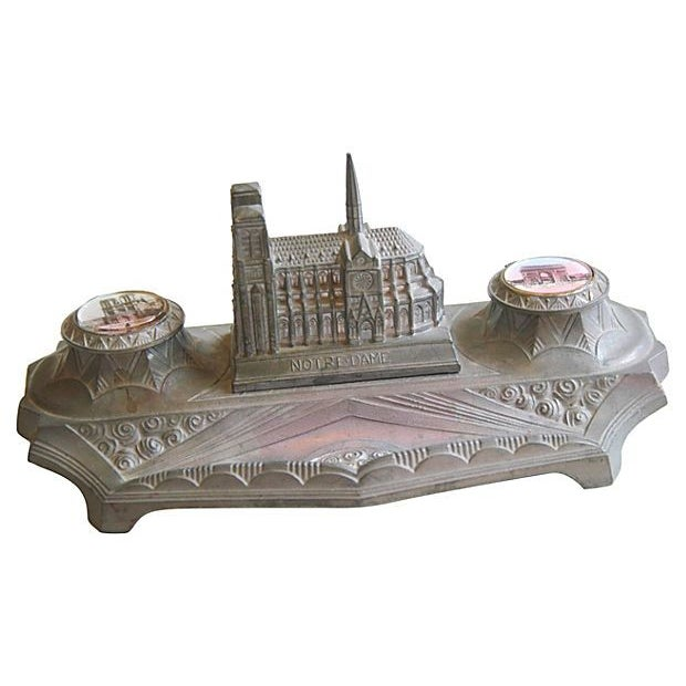 Image of 1930s French Iconic Historic Sites Inkwell