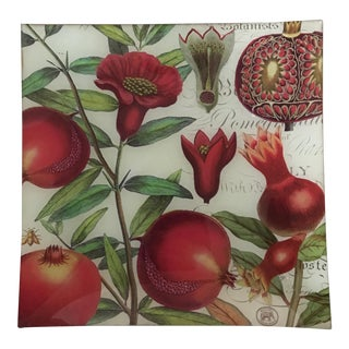 "Square Reverse Painted Glass ""Pomegranate"" Tray"