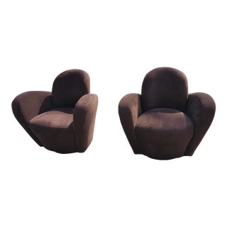 Rare Vladimir Kagan Wrap Around Swivel Barrel Chairs - a Pair