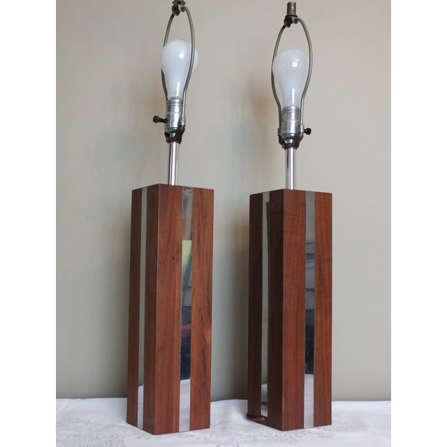 mid century modern wood chrome table lamps pair chairish