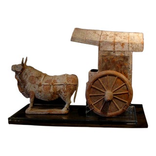 A Northern Qi Dynasty Pottery Model of an Ox and Cart