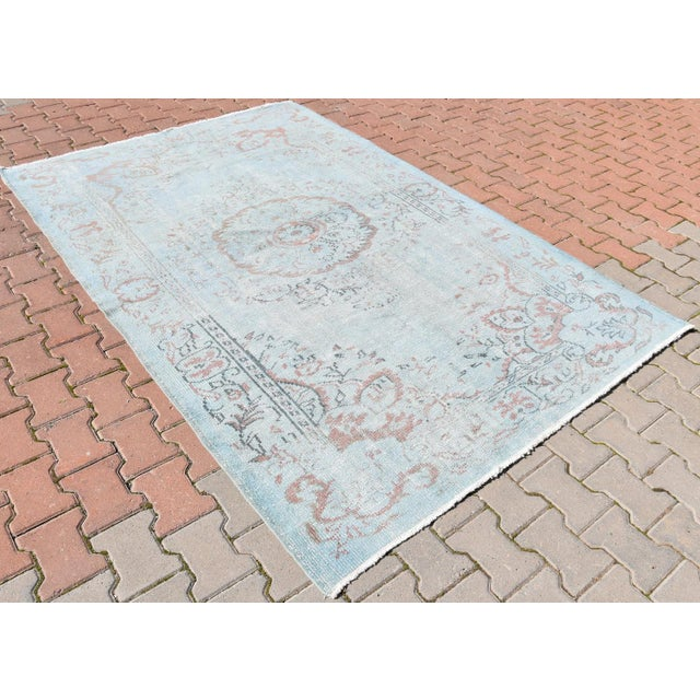 Vintage Oushak Sky Blue Distressed Handwoven Area Carpet -5′5″ × 8′2″ - Image 3 of 6