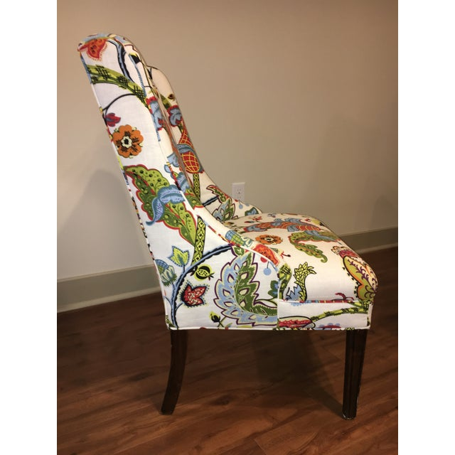 Colorful Reupholstered Slipper Chairs - A Pair - Image 4 of 8
