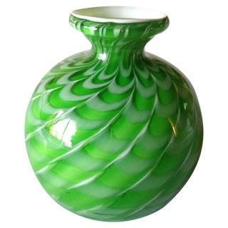 Vintage Murano Toso Green & White Vase