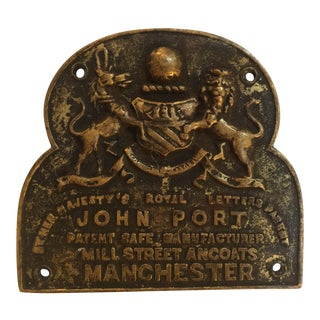 English Brass Plaque With Coat of Arms