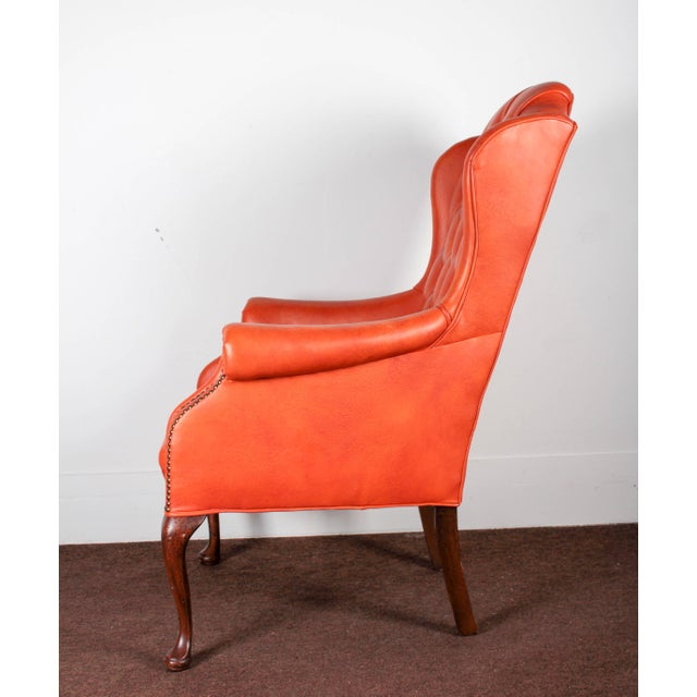 Orange Tufted Leather Queen Anne Mahogany Armchair - Image 3 of 11