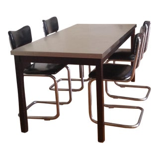 ZGallerie Metal Top Dining Table & Cantilever Chairs Dining Set