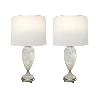Brazilian Rock Crystal Urns Table Lamps - A Pair