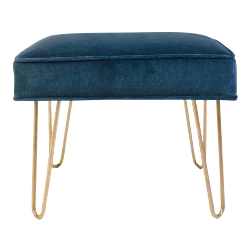 Petite Brass Hairpin Ottomans in Teal Velvet by Montage - Image 1 of 8