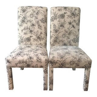 Floral Upholstered Roll Back Parsons Chairs - A PAir