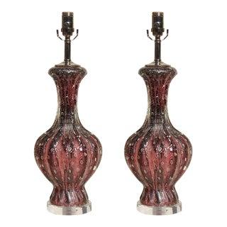 Purple W/Silver Murano Lamps