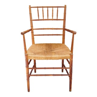Vintage Faux Bamboo Rush Seat Arm Chair