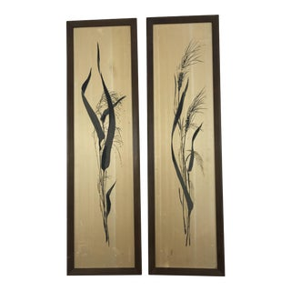 Mid Century Painted Silk Framed Wall Hangings - A Pair