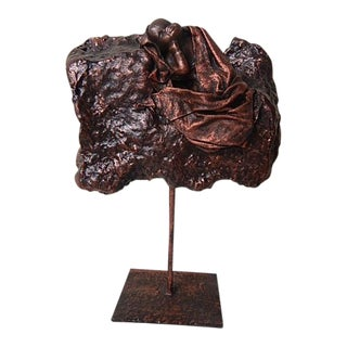 African Copper Rock Cradle Baby Sculpture on a Stand