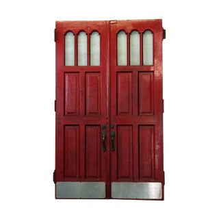 Seven Panel Red & Black Doors - a Pair