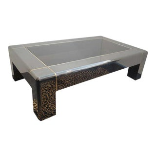 Karl Springer Rare Gunmetal Finish and Brass Coffee Table