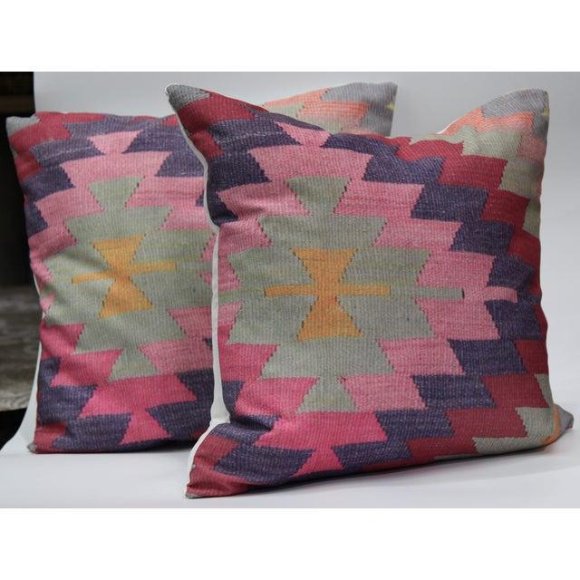 Diamond Pattern Kilim Inspired Print Pillows - a Pair-16'' - Image 2 of 6