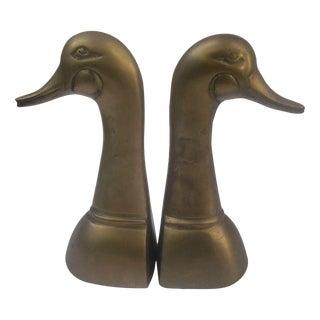 Brass Duck Bookends - A Pair