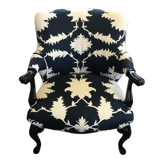 Vintage Black Lacquered Schumacher Bergere Chair