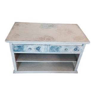 Floral Fossil Wood TV Stand