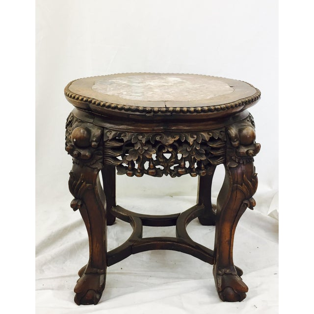 Chinese Carved Rosewood & Marble Table - Image 3 of 11