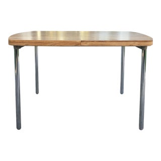 Vintage Dining Table With Chrome Legs and Leaf Extension